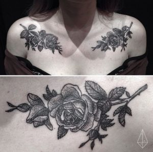 Gorgeous Rose Clavicle Tattoos
