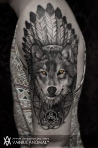 Indian Wolf Arm Tattoo