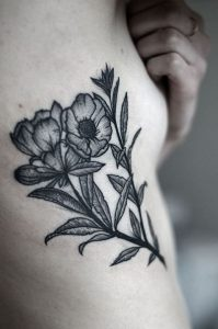 Linework Floral Bouquet Side Body Tattoo