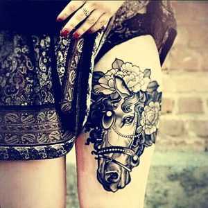 Lovely Horse Thigh Tattoo