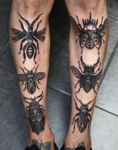Lovely Insects Leg Tattoos