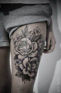Lovely Roses Thigh Tattoo