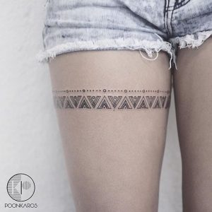 Lovely Thigh Band Tattoo