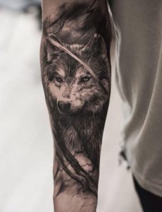 Lovely Wolf Forearm Tattoo