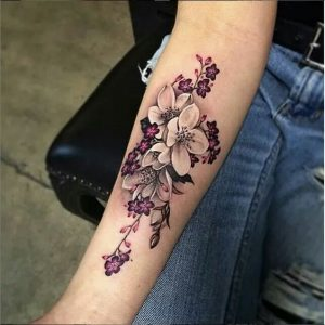 Orchid And Violets Forearm Tattoo