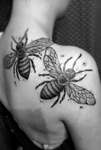 Realistic Bees Back Tattoo