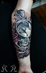 Realistic Compass With Roses Forearm Tattoo
