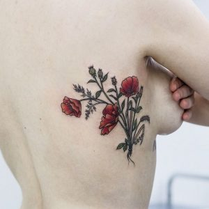 Red Poppies Side Body Tattoo