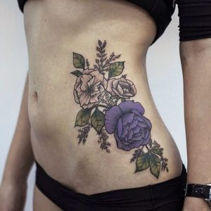Rose And Poppies Side Body Tattoo
