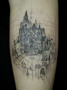 Sketched Castle Calf Tattoo