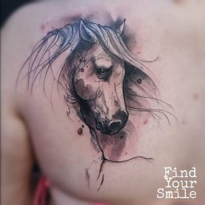 Sketchy Horse Chest Tattoo