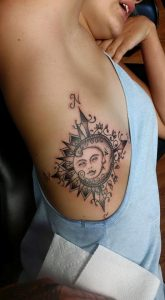 Sophisticated Compass Side Body Tattoo