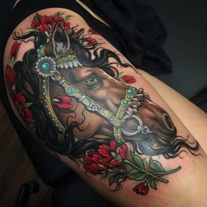 Sophisticated Horse Thigh Tattoo