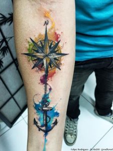Stunning Watercolor Compass Forearm Tattoo