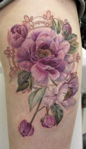 Violet Laced Roses Bouquet Arm Tattoo
