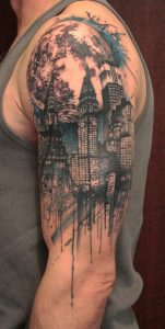 Watercolor City Scape Half Sleeve Tattoo