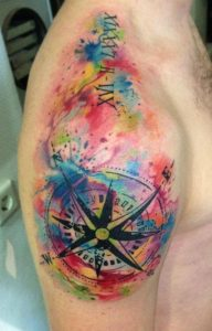 Watercolor Compass Arm Tattoo
