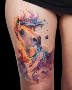 Watercolor Horse Thigh Tattoo