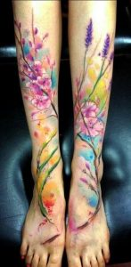 Connecting Watercolor Floral Leg Tattoos