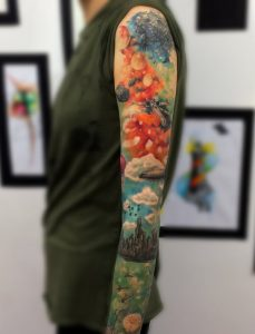 Earth And Space Sleeve Tattoo