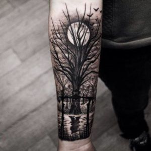 Eerie Forest Forearm Tattoo