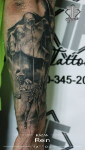 French Maid Puppet Half Sleeve Tattoo