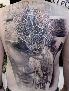Graded Crucified Christ Back Tattoo