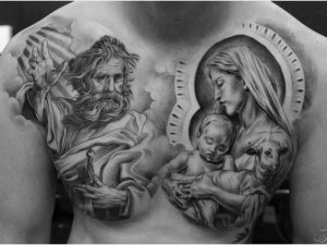Holy Family Chest Tattoo