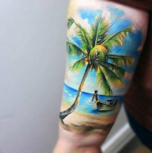 Lovely Day At The Beach Arm Tattoo