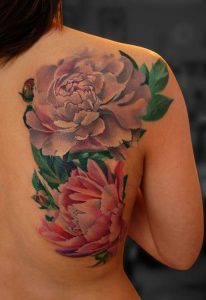Lovely Peonies Back Tattoo