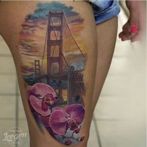 Lovely Sunset View By The Bridge Thigh Tattoo