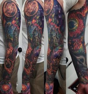 Outrageous Cosmic Full Sleeve Tattoo