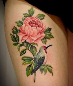 Peony With A Lovely Bird Thigh Tattoo
