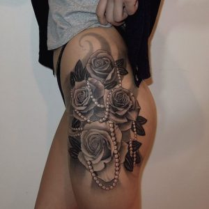 Roses And Pearls Thigh Tattoo