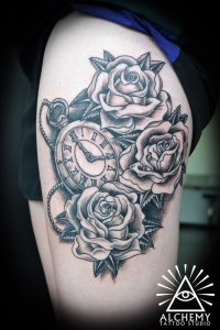 Roses And Pocket Watch Thigh Tattoo