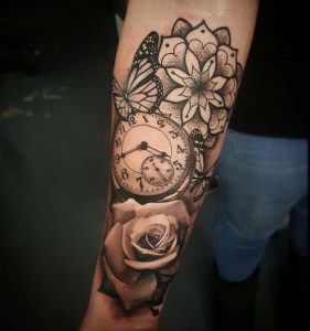 Sophisticated Pocket Watch Forearm Tattoo