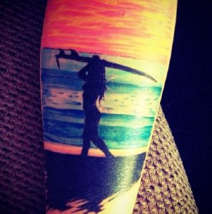 Surfer By The Beach Tattoo