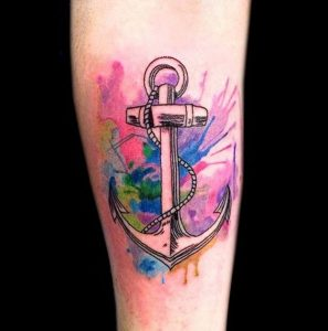 Watercolor Anchor Forearm Tattoo