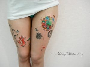 Adorable Scenic Graphic Style Thigh Tattoos