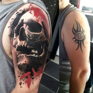 Awesome Skull Cover Up Arm Tattoo