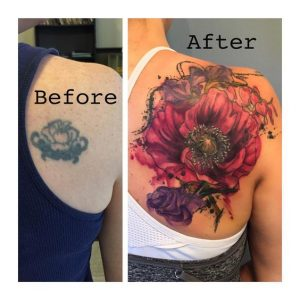 Captivating Poppy Flower Cover Up Back Tattoo