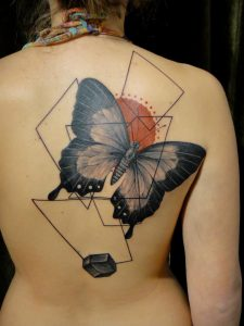 Contemporary Butterfly Back Tattoo