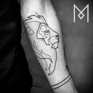 Continuous Graphic Style Lion Forearm Tattoo