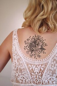 Floral Bouquet Back Tattoo