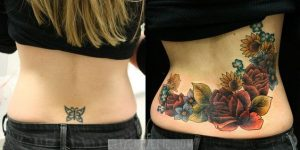 Floral Garden Cover Up Lower Back Tattoo