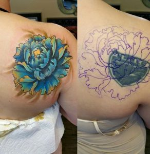 Gorgeous Peony Cover Up Back Tattoo