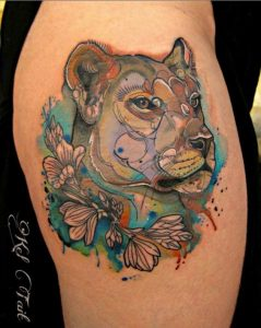 Gorgeous Watercolor Thigh Tattoo