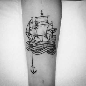 Graphic Style Ship Forearm Tattoo