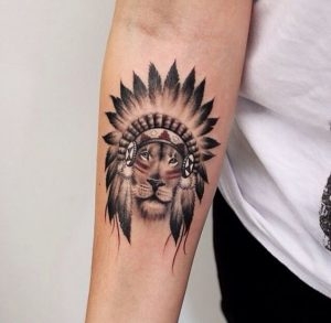 Indian Inspired Lion Forearm Tattoo