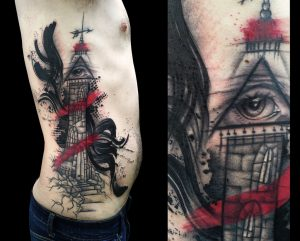 Lighthouse Graphic Style Side Body Tattoo